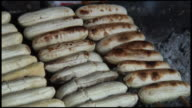 (HD1080) Food Preparation: Banana /  Skewers on Charcoal Grill