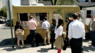 Food Trucks on a Busy Spring Day at Farragut Square on April 20 2012 in Washington DC