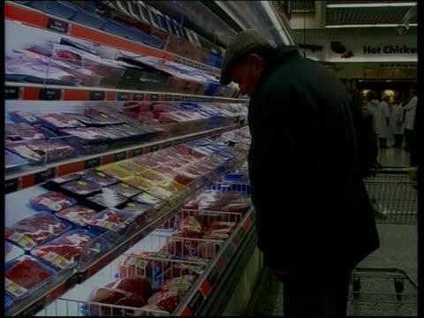 Livestock movement measures Leeds Asda Supermarket Label 'Asda British Beef' on pack of braising steak in supermarket TCMS Packs of braising steak on...