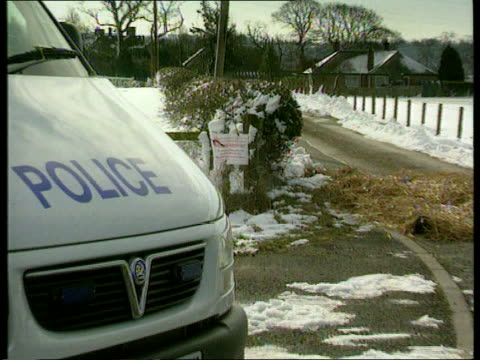 Livestock movement measures SCOTLAND Dumfries Front of police van seen parked at entrance to farm ZOOM IN to notice on fence behind 'Please Keep Out...