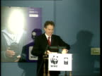 Movement of livestock London INT Prime Minister Tony Blair MP along to podium for speech on environment ZOOM Prime Minister Tony Blair MP press...