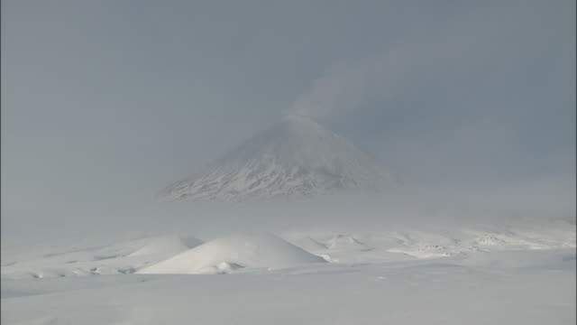 Foot Of Klychevskaya Sopka Covered With Snow