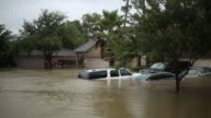 Footage from boat of flooded neighborhoods in the Highland Glen subdivision outside Houston in Spring Texas US on Monday Aug 28 2017 Photographer...
