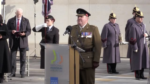 Footage from the Armistice Day ceremony at the National Memorial Arboretum in Alrewas Staffordshire Includes shots of the silence the Last Post the...