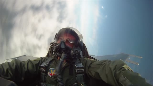 Footage from the back seat of a 119th Fighter Squadron 177th Fighter Wing New Jersey Air National Guard F16D Fighting Falcon multirole fighter...