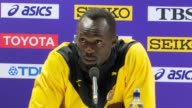 Footage from the press conference with Justin Gatlin and Usain Bolt following the Men's 100m final at the 2017 World Championships