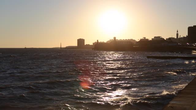 Footage from Uruguay Montevideo sunset