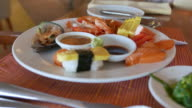 4K footage : Japanese and Seafood buffet at restaurant