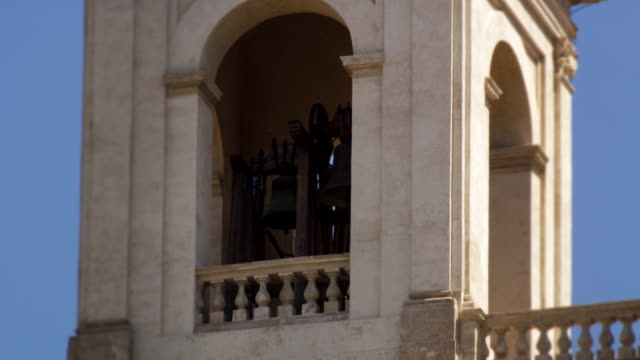 Footage of a bell tower of the Trinità dei Monti