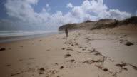 4K footage of a woman walking in an empty beach in Wilson Promontory, Victoria, Australia
