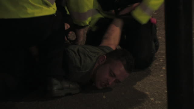 Footage of a young man being arrested in the street outside a nightclub after a drunken altercation