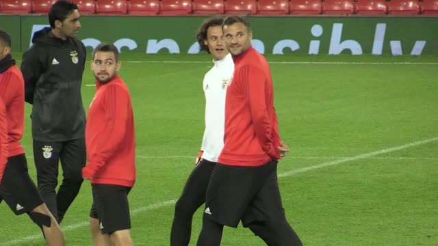 Footage of Benfica training at Old Trafford ahead of their Champions League game against Manchester United