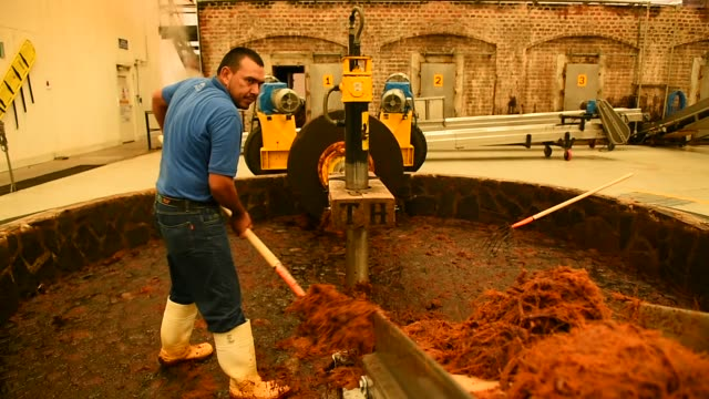 Footage of blue agave plants 'pina' being placed into tanks for fermentation in Atotonilco Jalisco Mexico on April 5 2017 Shots wide shot of crushed...
