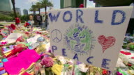 Footage of Flowers and other tributes made out to the victims of an attack on a gay nightclub in Orlando NNBU323H