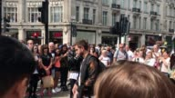 Footage of former One Direction star Liam Payne busking on Oxford Street London