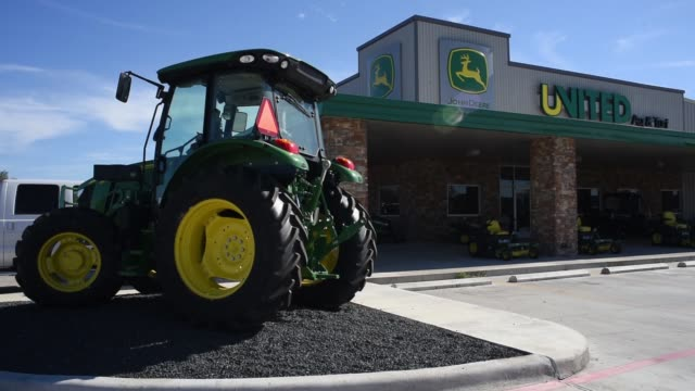 Footage of John Deere Tractors at a dealership in Waco TX on November 20 2017 Photographer Sergio Flores Shots static shot of many tractors and...
