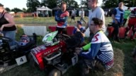 Footage of lawnmowers taking part in a 12 hour endurance race in West Sussex