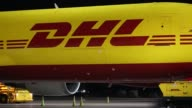 Footage of many DHL planes at the Northern Kentucky International Airport in Hebron Kentucky US on Wednesday Aug 16 2017 Photographer Luke Sharrett...