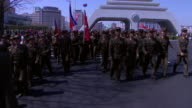 Footage of North Korean soldiers in the countries capital Pyongyang