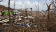 Footage of piles of debris and damages after Hurricane Irma in St John US Virgin Islands on September 12 2017 Photographer Michael Nagle Shots pan...