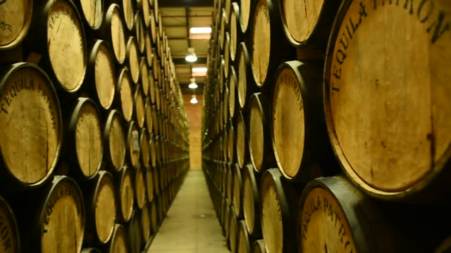 Footage of Tequila Patron barrels in Atotonilco Jalisco Mexico on April 5 2017 Shots wide tilt up of tequila barrels / more panning and tilting shots...