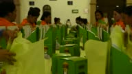 Footage of Tequila Patron bottles being packaged into boxes in Atotonilco Jalisco Mexico on April 5 2017 Shots wide shots of boxes being filled with...