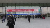 Footage of the CeBIT tech show in Hanover Germany on Sunday March 15 2015 Shots wide shot of entrance to CeBit show Wide shot of Cebit entrance with...