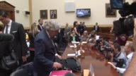 Footage of the committee room prior to a hearing with Secretaries Kerry Lew and Moniz