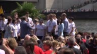 Footage of the Duchess of Cambridge receiving her medal following the Heidelberg rowing race the Duke and Duchess drinking beers out of traditional...