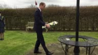 Footage of The Duke of Cambridge laying a wreath in tribute to PC Keith Palmer at the National Memorial Arboretum in Staffordshire Prince William is...