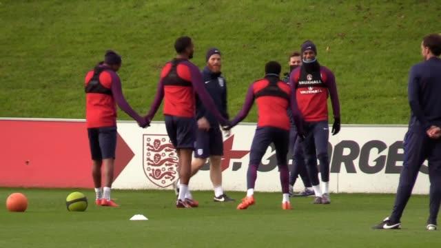 Footage of the England squad training ahead of their friendly against Germany at Wembley Stadium Footage of Jack Butland Joe Hart Jordan Pickford...