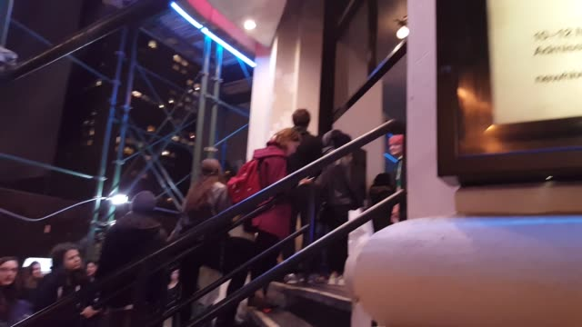 Footage of the lines for Shia LaBeouf watching his own movies at #ALLMYMOVIES at the Angelika Film Center in New York