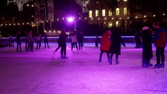 Footage of The Only Way is Essex star Danielle Armstrong at the launch of the National History Museum's ice rink