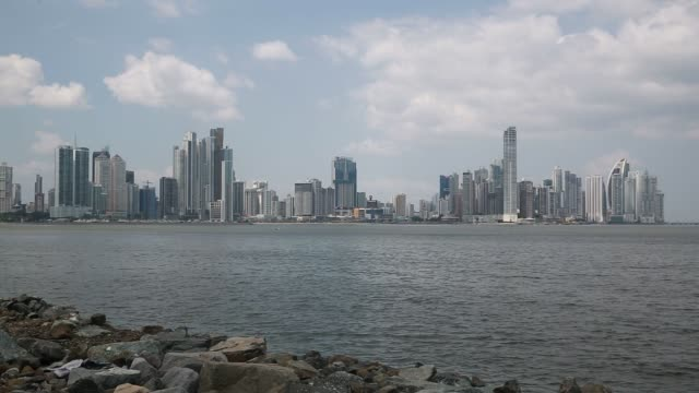 Footage of the Panama City Skyline in Panama on April 5 2016 Shots wide pan left of the cityscape static shot of skyline wider shot of skyline with...