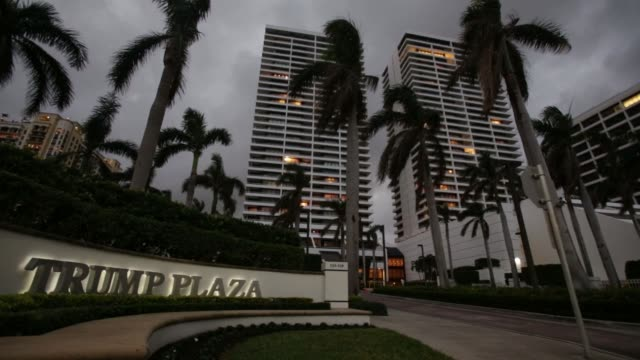 Footage of the Trump Plaza before an antiTrump rally in West Palm Beach Florida US on Saturday Nov 11 2017 Photographer Saul Martinez Shots wide shot...