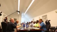 Footage of the US Virgin Islands Cabinet meeting in response to Hurricane Irma on September 11 2017 Photographer Michael Nagle Shots wide shot of...