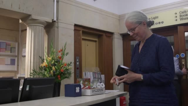 Footage of the 'white poppy' which is being distributed by peace campaigners and has the support of many teachers Interview with Helen Drewery head...