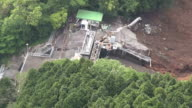 Footage taken from a helicopter on May 7 Japan shows the mountaintop Kurokawa No 1 hydraulic power plant in MinamiAso Kumamoto Prefecture which burst...