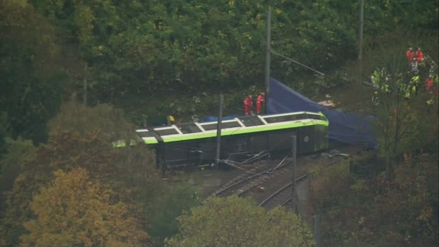 Footage which appears to show tram driver falling asleep probed R091116002 / scene of tram crash with investigators and blue