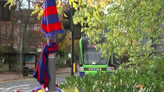Footage which appears to show tram driver falling asleep probed Tram along road past Crystal Palace scarves tied to post TILT DOWN makeshift memorial...