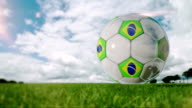 Football ball with Brazilian Flag - Loopable