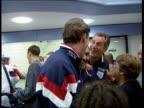 England beat Poland ITN ENGLAND Luton Airport CMS Paul Ince towards thru airport Glenn Hoddle signing autograph Alan Shearer intvw We're enjoying...