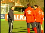 Berks Bisham Abbey Howard Wilkinson talking to players at England FC training session Arsenal defender Lee Dixon along INT Howard Wilkinson press...