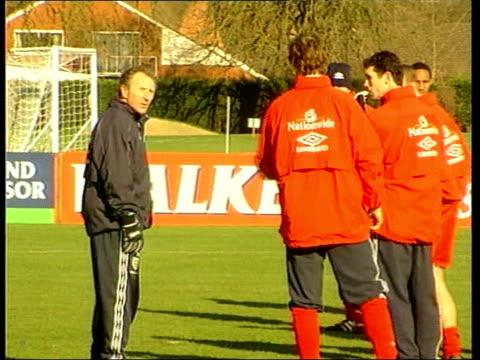 Berks Bisham Abbey Howard Wilkinson talking to players at England FC training session Arsenal defender Lee Dixon along INT Howard Wilkinson press...