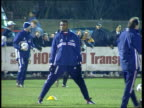 England squad hit by injuries ITN ENGLAND Middlesex Harrow Harrow Borough FC French football players jogging along during training Marcel Desailly...