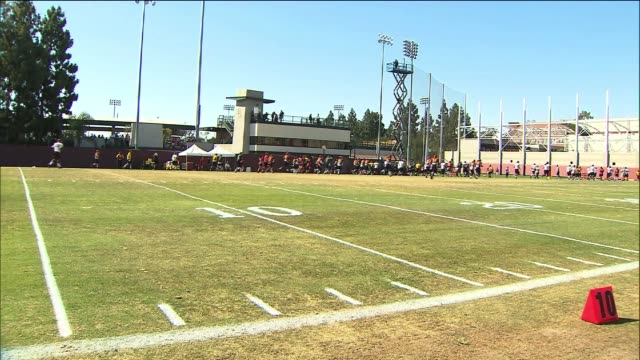USC Football Players Practice on August 19 2013 in Los Angeles California
