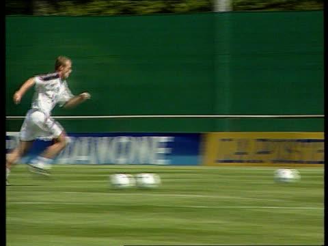 World Cup LIB Berks Bisham Abbey DAY Alan Shearer practising penalty kicks