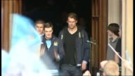 Footballer Adam Johnson pleads guilty to two child sex crimes LIB / 2352011 Johnson and other Manchester City players from Town Hall as celebrating...