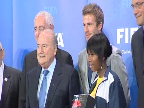 Footballer David Beckham poses for press alongside FIFA President Sepp Blatter before presenting England's bid to host 2018 World Cup Zurich 14 May...