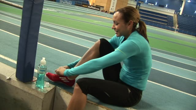 for 2012 Olympics Jessica Ennis tries new adidas spikes on December 02 2011 in Sheffield England
